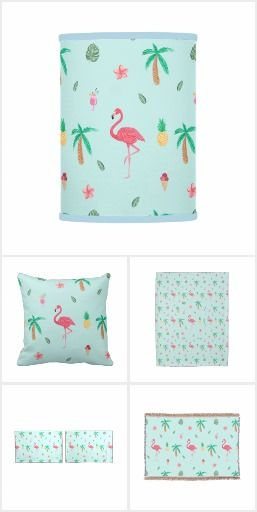Tropical Summer Flamingo Blue Bedroom Collection on #zazzle Decor and accessories for your bedroom with a Tropical Flamingo theme.