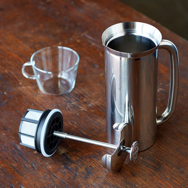 A durable stainless steel coffee press that microfilters your coffee twice.