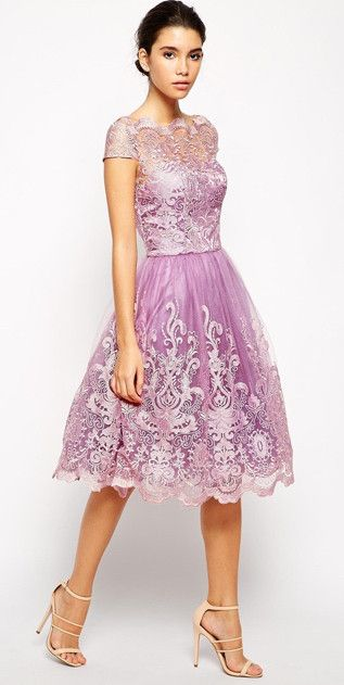 modest metallic lace pink midi dress with cap sleeves