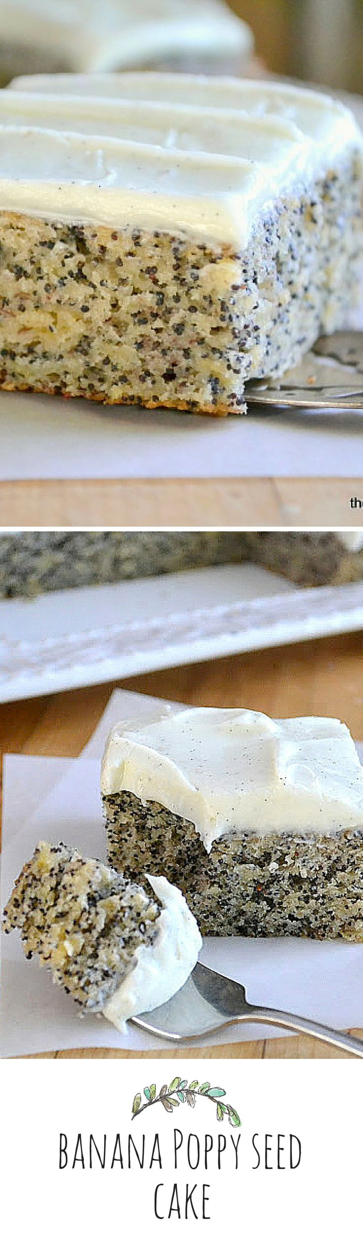 Banana Poppy Seed Cake with Vanilla Bean Frosting