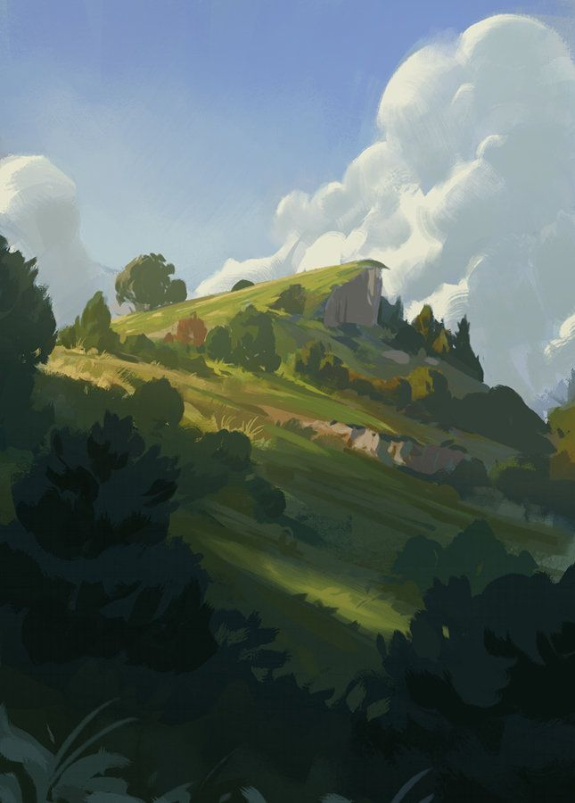 Rolling Hilltop, Justin Oaksford on ArtStation at http://www.artstation.com/artwork/rolling-hilltop