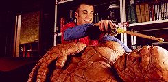I love this so much! Chris Evans as Johnny Storm in the Fantastic Four.