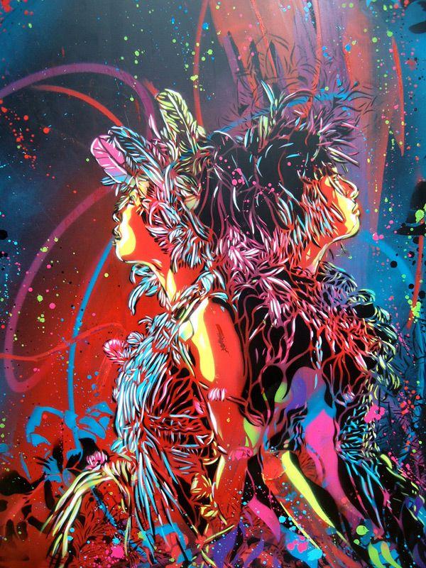 the colors are just too stunning: Graffiti Artworks, Christian Guémi, Christians, Street Artists, Artists Christian, Stencil Work, C215 Streetart, Artists C215, Graffiti Artists