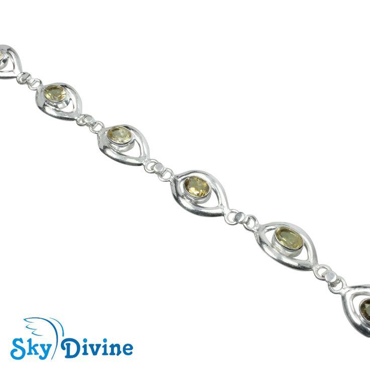 925 Sterling Silver Citrine Bracelet SDBR2111 | Sky Divine Jewellery, $125.67