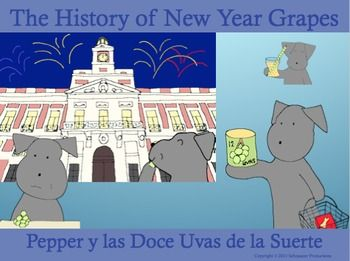 Pepper wishes you a happy New Year with the increasingly popular activity of eating grapes on New Year's Eve.  Found in many Spanish-influenced cultures, the tradition started in Spain.  Follow Pepper as she finds out the history that started the grape-eating trend.
