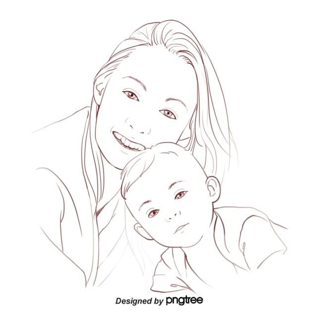 Black And White Lines Handpainted Portrait Of Mother And Child Mothers Day Illustration Elements Character Mom Baby Png Transparent Clipart Image And Psd Fil Black And White Cartoon Black And White