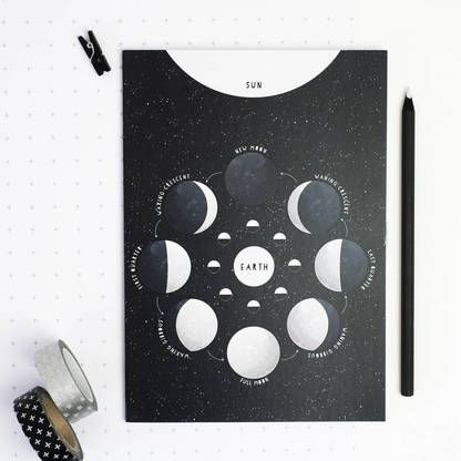Newton & the Apple . Moon phases educational notebook .