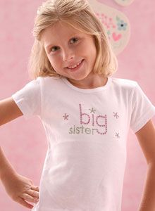 Girls Sparkling Big Sister T Shirt - Big Sister gifts for Baby, Toddler and Girls