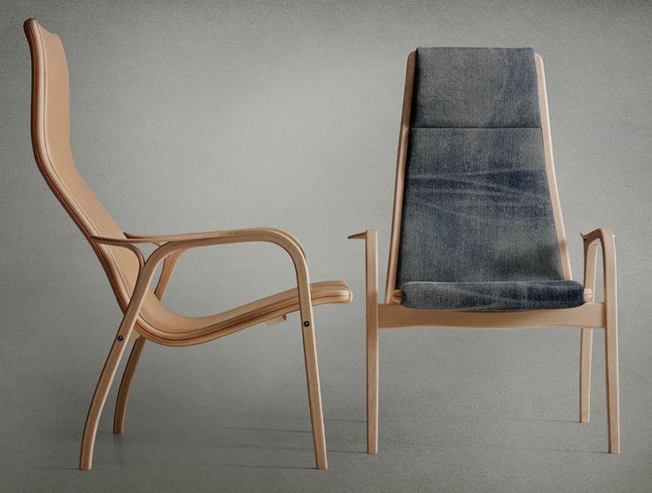 nudie jeans and swedese reinterpret lamino chair in denim