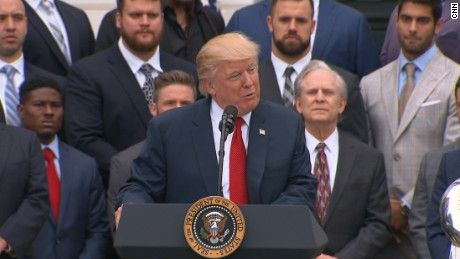 President Donald Trump hosted the 2016 Super Bowl champions, New England Patriots, at the White House. During his speech he gave a shout out to wide receiver, Danny Amendola, who was not in attendance at the event.