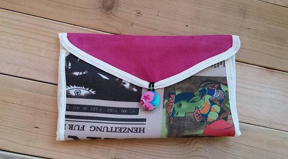 Wallet,pink Wallet,Recycled fabric, WALLET, Women's Checkbook Wallet, Gift for woman, Zipper wallet,Colored Purse,Output Bag