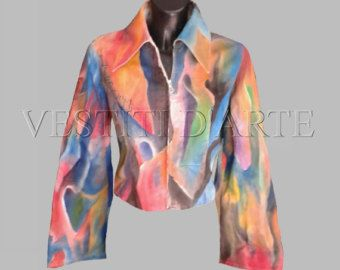 HAND PAINTED JEANS womens jackets for womens clothing plus size jackets maxi dress boho jacket jeans jacket dress bell sleeve denim…