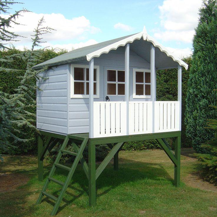 Shire - Stork Wooden Playhouse + Platform  -  (6'x4'x2')  Kids Den Wendy House