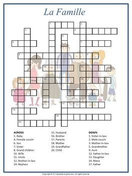 Build French vocabulary with this crossword puzzle activity featuring the names of family members.  The English name is given as the clue and students need to fill in the French equivalent.  A fun worksheet for a sub folder or for French club.