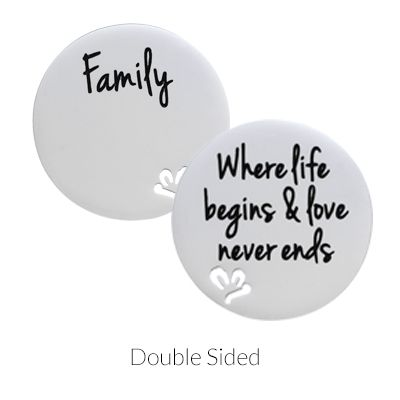 'Family - Where life begins & love never ends' Statement Plate