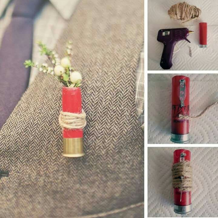 CAMO WEDDING - DIY Shotgun Shell Boutonniere <3  *Found on: Pinterest