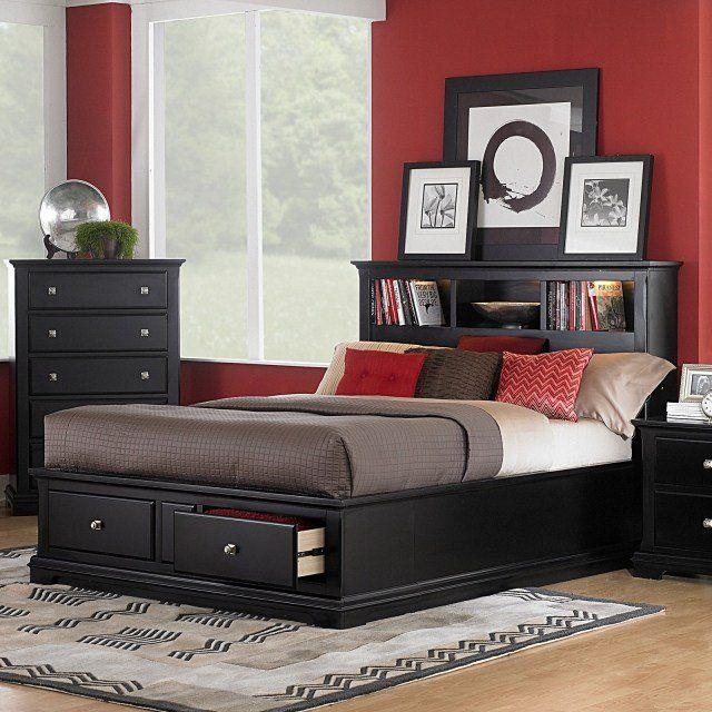 une tte de lit en bois noir avec tiroirs et une commode noire - Set De Chambre King Noir