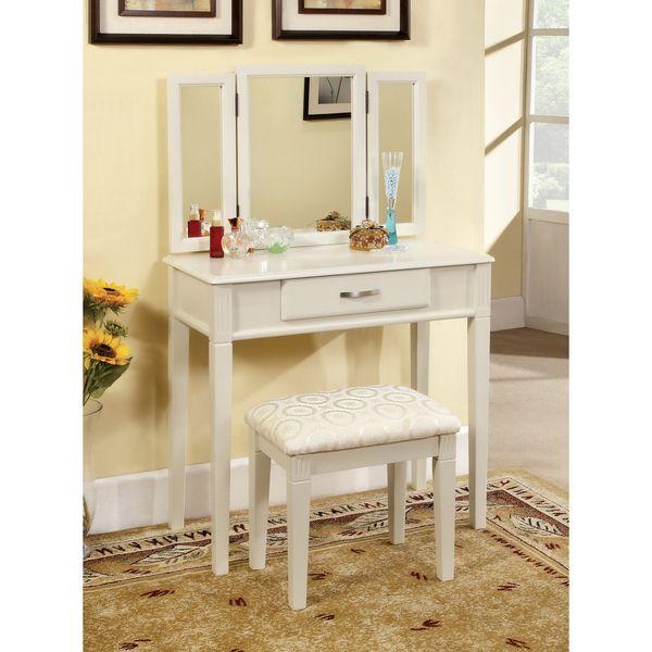 Furniture of America Jade 2-Piece Solid Wood Vanity Table and Stool Set