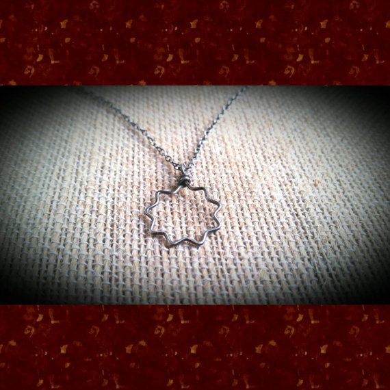 Sterling Silver Wirewrapped Nine-Pointed Star Pendant Necklace