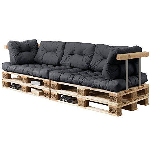 [en.casa] Divano palette euro - mobili DIY - Divano per dentro con cuscini per le palette ideale per salotto - giardino dŽinverno (2 x cuscino per il sedile e 5 x cuscino per schienale) grigio scuro