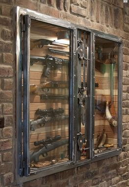 Custom Made Antique Wall Safe - Gun Showcase. All metal work and distressing done by hand to achieve an old world styling