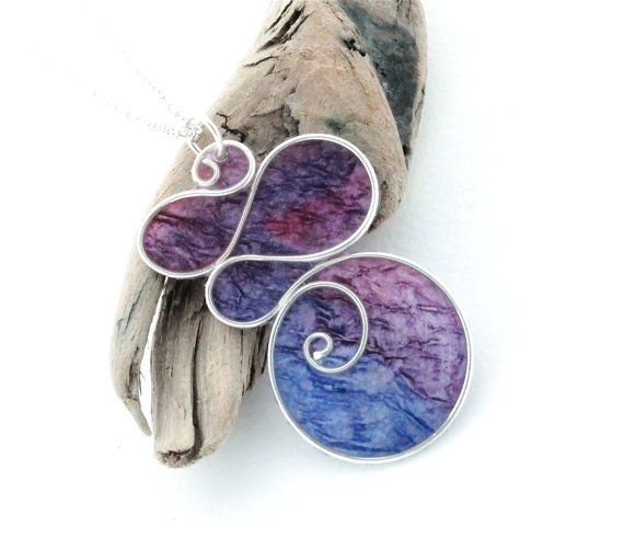 Paper & Wire Purple Spiral Pendant Necklace - Bold, Funky, Colorful, Hand Painted Paper Art Jewelry - Wire Sculpture - Made in Canada My Belle Bijoux!