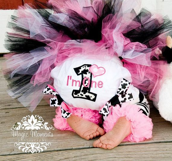 First Birthday Girl Bloomers Cow Farm Pink and Black by whimsytots, $23.00