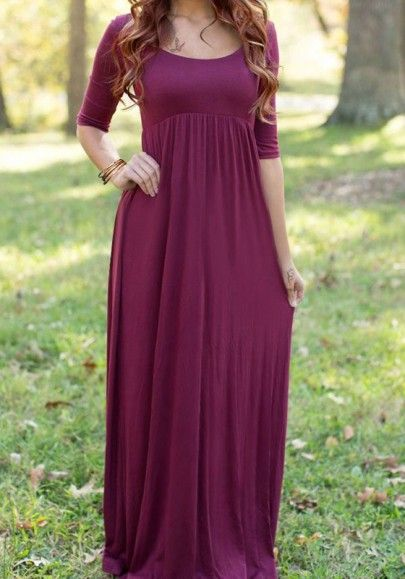 Red Plain Pleated Round Neck Casual Maxi Dress