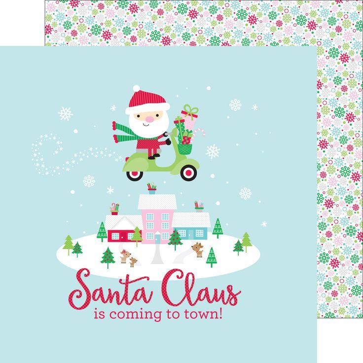 PAPEL NAVIDEÑO: Papel de navidad Frosy Flakes Papel de 30×30 cm, con dibujo de Papa Noel, ideal para decorar tus trabajos navideños de scrapbook y manualidades