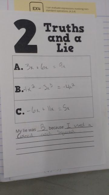 A few weeks ago, I shared a free template I created for using 2 Truths and a Lie in class. Specifically, I shared examples of using the practice structure with a few vocab words: absolute value, oppos