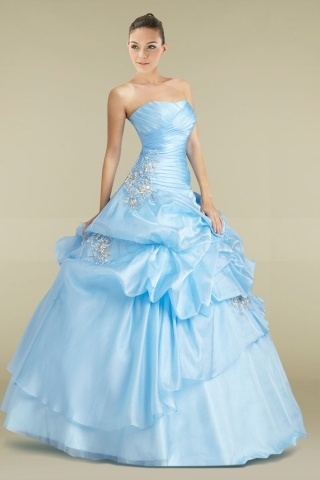 Radiant Light Sky Blue Satin Ball Gown Quinceanera Dress with Lustrous Crystals