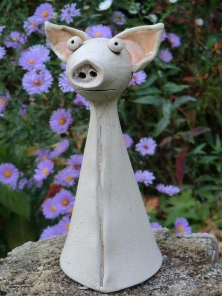 Gartendekoration - Das Schwein Rüssel - ein Designerstück von Atelier-Keramixx bei DaWanda
