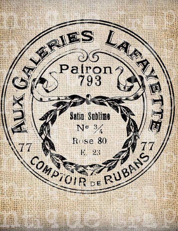 Antique French Paris Label Shop Cosmetic by AntiqueGraphique etiqueta postal galeries lafayette redondo sepia
