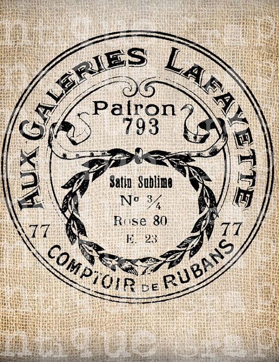 Antique Français Paris Label Boutique cosmétiques toilette Digital Download de Papercrafts, transfert, oreillers, etc. 2939 sans toile de jute