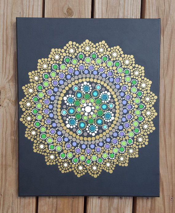 Arte de pared de Mandala mandala pintura/Bohemia/dot trabajo / dotillism / pintura 16 x 20 / meditación / yoga/espiritual/flor/verde/oro