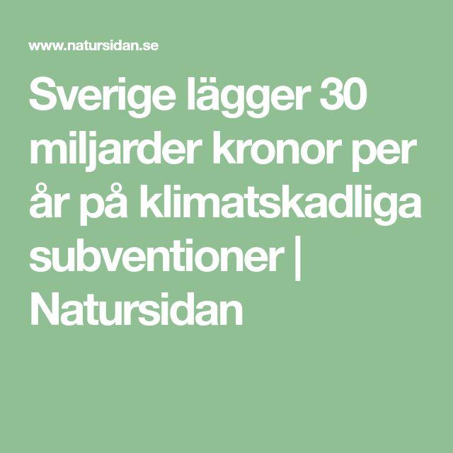 Sverige lägger 30 miljarder kronor per år på klimatskadliga subventioner | Natursidan