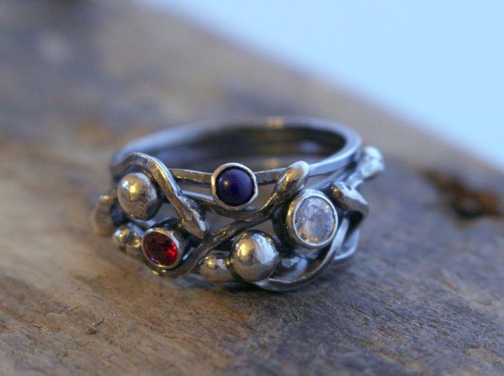 Multi Gemstone Sterling Silver Statement Ring - CZ Garnet Lapis Ring, Modern mothers ring by MoodiChic on Etsy