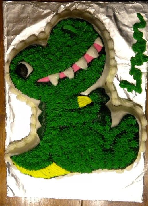 German Chocolate with Vanilla Buttercream Dinosaur for my sons 1st Birthday.