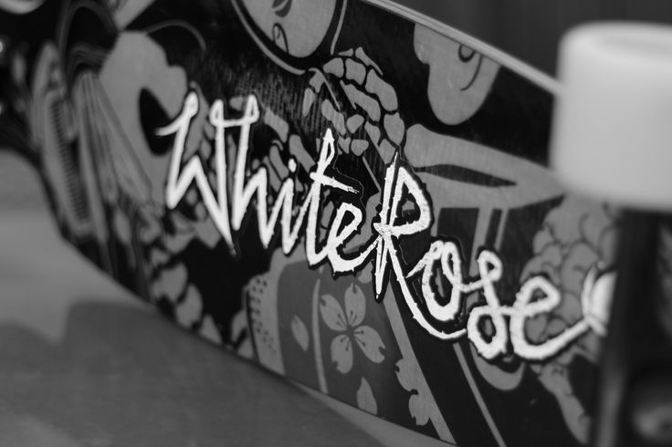 White Rose with skeleton geisha graphic  whiteroselongboards.com
