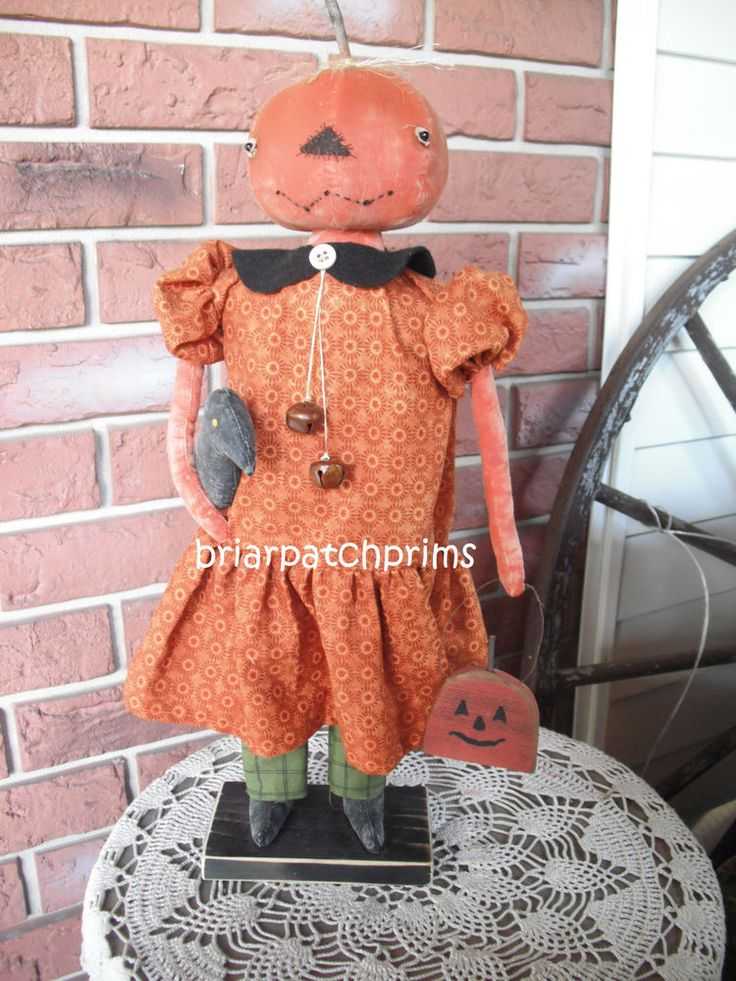"Primitive 21"" Standing Pumpkin Head Doll w Crow and Pumpkin Halloween Fall Folk  #NaivePrimitive #briarpatchprims"