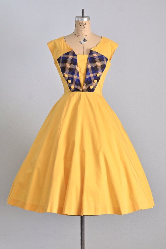 vintage 1950s dress • sailor dress • sunshine yellow dress • cotton 50s dress • full skirt dress • medium