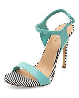 Chaussures à talons et brides de cheville vert menthe aux bords rayés | New Look