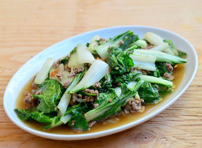 Bok choy and ground pork recipe