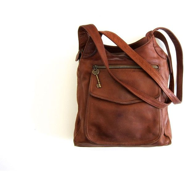 Fossil Purse Leather Cross Body Boho Bag Cognac Brown Shoulder Bag 90s... ($58)…