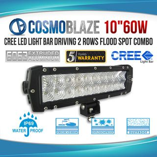 "Cosmoblaze 10"" 60W CREE LED Light Bar Driving 2 rows FLOOD SPOT COMBO"