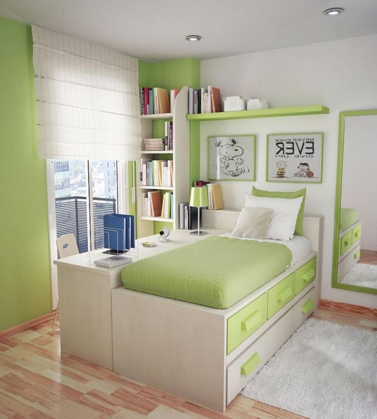 Bedroom , Green Bedroom Ideas for Natural and Fresh Striking Look : Lime Green Bedroom Idea With Multifunctional Furniture