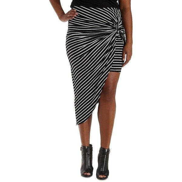 Charlotte Russe Plus Size Black Combo Asymmetrical High-Low Tulip... ($25) ❤ liked on Polyvore