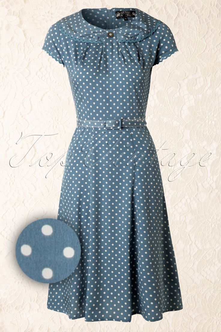 40s Ingrid Dress in Vintage Blue with White Polka