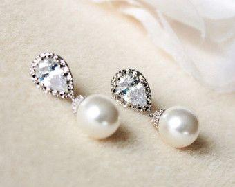 Pendientes de perlas de novia boda crema marfil blanco de la perla de Swarovski pendientes dama regalo Pendientes perla de Dama de honor la joyería de la perla
