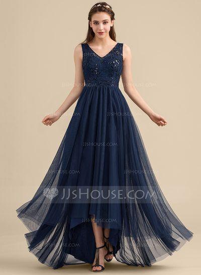 b086fcab2608 A-Line/Princess V-neck Asymmetrical Tulle Lace Bridesmaid Dress With Sequins